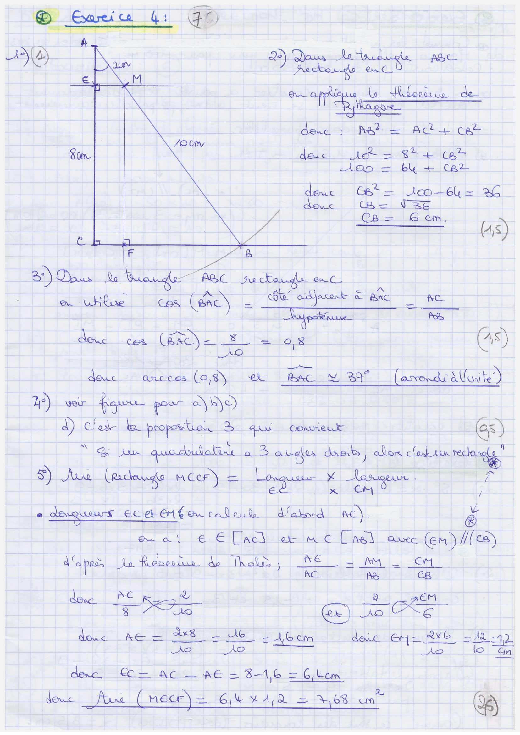 Aide aux devoir: Dm Math 4eme Correction