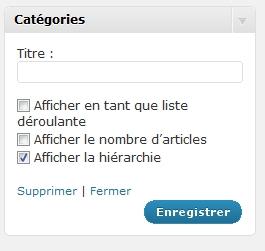 Hierarchie des catégories